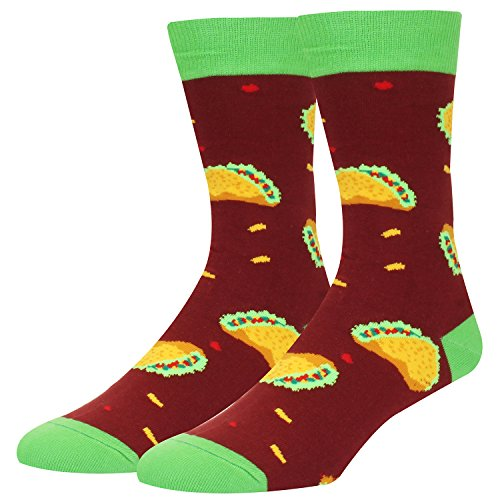 Mens Food Socks Novelty Crazy Dress Colorful Taco Mid Crew Office Socks from sockfun