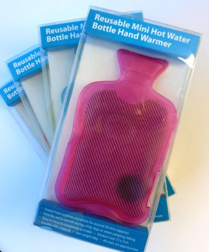 Reusable Mini Hot Water Bottles Hand Warmers Pack of 4 Christmas Stocking...