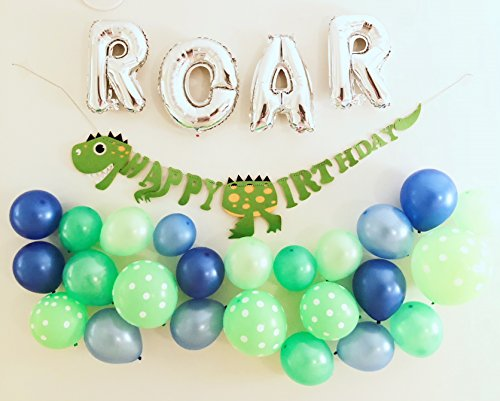 Dinosaur birthday party balloon decoration supply set. Includes dinosaur ROAR foil letter balloons, green dinosaur happy birthday banner and x25 dinosaur themed balloons