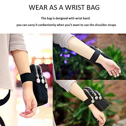 Outdoor Wrist Purple Zipper Storage Pouch 3 Sports Phone Bag Waterproof Bag Layers Women Crossbody Bag Shoulder 77nfqIa