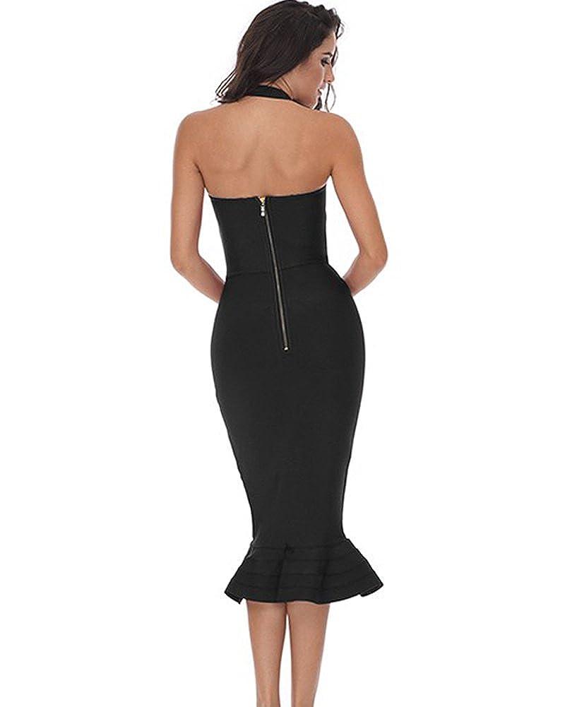 e74847af Amazon.com: Whoinshop Women's Halter Sleeveless Mermaid Bodycon Bandage  Cocktail Midi Dress: Clothing
