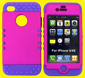 APPLE IPHONE 4G 4S CASE (HOT PINK SNAP + Light Purple SKIN), HARD & SOFT RUBBER HYBRID FOR IPHONE 4 4S 4G, SHOCKPROOF BUMPER COVER HIGH IMPACT DUAL LAYER PROTECTIVE - LP-A008-E CELLPHONE [ACCESSORIES N MORE]