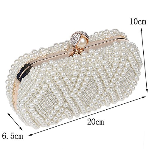 Creamy Color Crossbody Banquet Bag Champagne Shoulder Women's Clutch Luxury Pearl Handbag Ladies Evening white KERVINFENDRIYUN RFBCqx