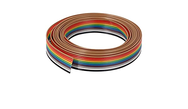 10 Pin Uxcell Flat Ribbon IDC Cable Wire Rainbow Cable 10 Way 1.9 m 6.2