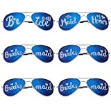 BMC 6 pc Wedding Party Colored Decal Metal Frame Aviator Style Sunglasses Set - Bridal Bunch