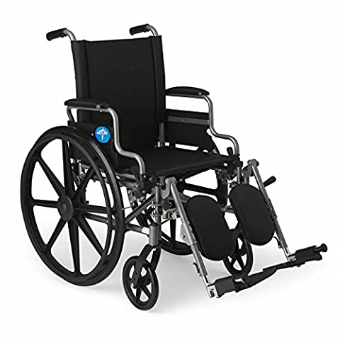 "Medline Lightweight and User-Friendly Wheelchair with Flip-Back, Desk-Length Arms and Elevating Leg Rests for Extra Comfort, Gray, 18"" Seat"