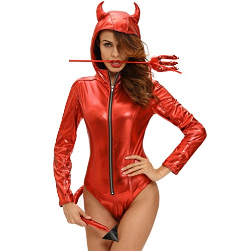 YeeATZ Women's Metallic Look Devilish Hottie Long Tail Hooded Costume(Size,M) (Geisha Costume Australia)