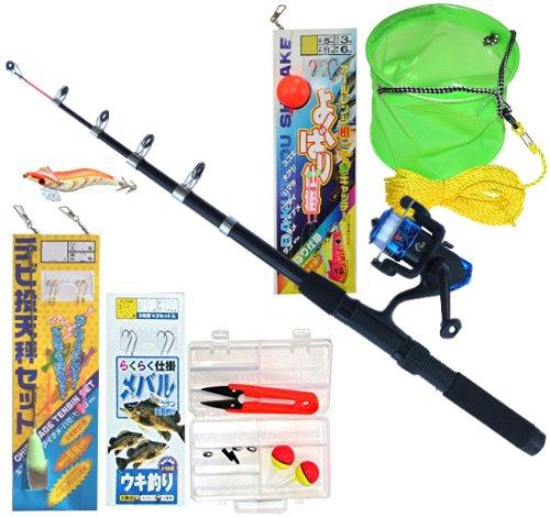 TOISTAX 釣具 よくばり セット 2m 釣り竿 ロッド リール ルアー エギング 仕掛け ちょい投げ 200A (基本セット+DRAGONよくばり仕掛け+水汲みバケツ 200A-10)の商品画像