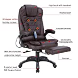 NRG Heated Executive Ergonomic Massage Chair Vibrating Office Chair w/Footrest Brown