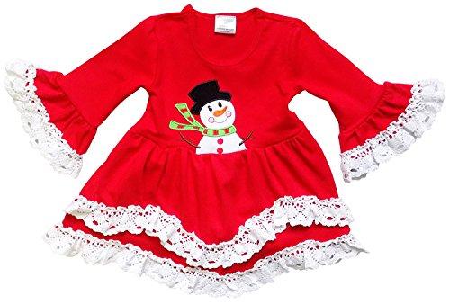 Sweet Snowman - So Sydney Toddler Girls Boho Ruffle Crochet Lace Trim Flare Sleeve Dress (Snowman Red, XS (2T))