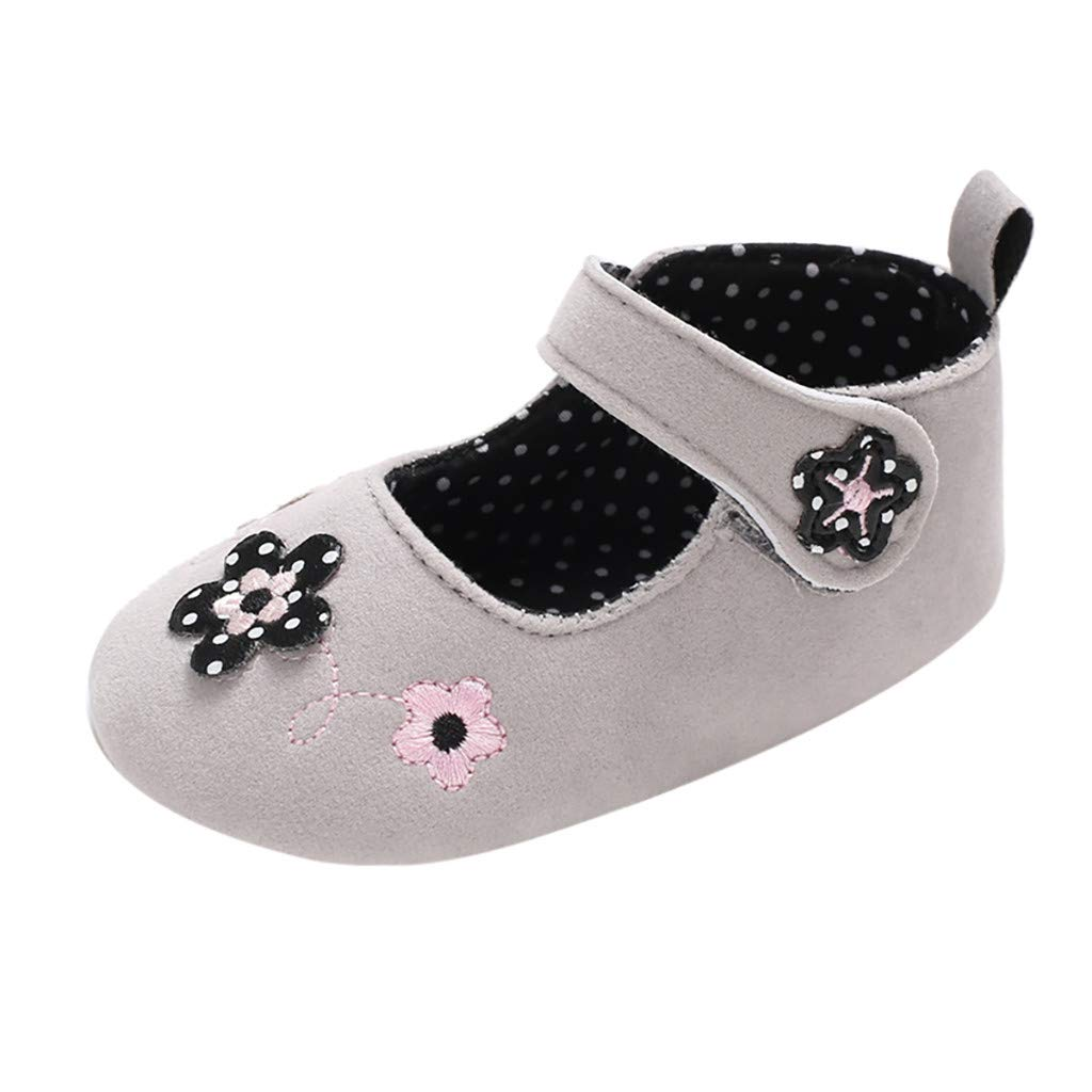 NUWFOR Infant Newborn Baby Girls Soft Sole Flower Decal Princess Shoes Single Shoes(Gray,12~18 Month)
