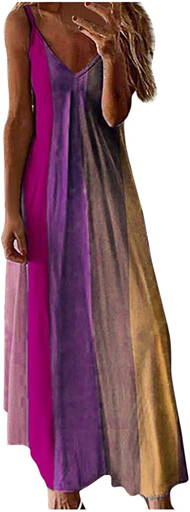 Yousity Womens Gradient Sleeveless V Neck Spaghetti Strap Camisole Long Maxi Dress Casual Summer Beach Sundress Tank Dress