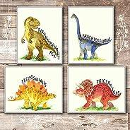 Dinosaur Bedroom Decor Wall Art Prints (Set of 4) - Unframed - 8x10s