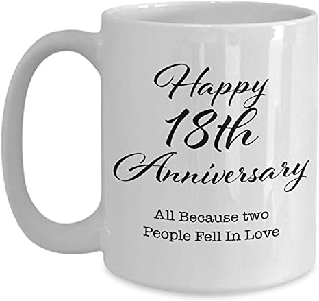 Porcelain Mug 18 Year Anniversary Gifts for Men, Her, Couple