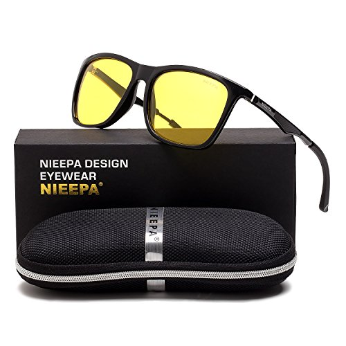 HD Night Vision Polarized Sunglasses Square Yellow Lens Aluminum Magnesium Temple Spring Hinges Driving Sun Glasses Men Women Classic Retro Wayfarer Glasses (Night Vision Lens/Black Spring - Sunglasses Of This Made Are Of Glass Type