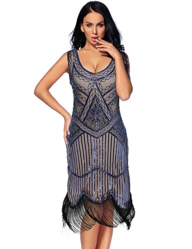 Women's Vintage 1924s Fringed Gatsby Sequin Beaded Tassels Hem Flapper Dress (XL, Blue Beige)]()