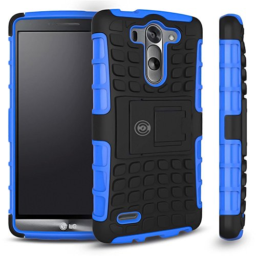 LG G3 Case, LG G3 Armor Cases | Tough Armorbox Dual Layer Hybrid Hard/Soft Protective Mobile Case by Cable and Case | Thinner Than A Wallet | The Clear Choice For Ultimate Protection - [LGG3] Blue