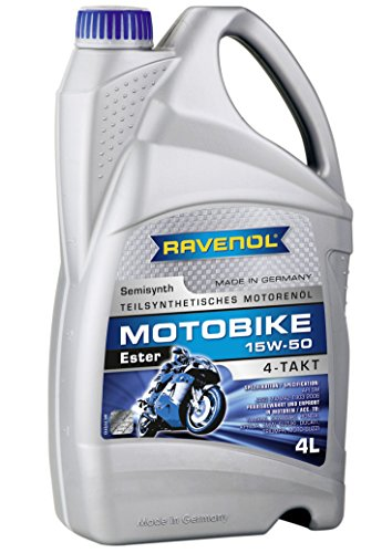 RAVENOL J1V1033-004 SAE 15W-50 4-Stroke Motorcycle Oil - 4-T Semi-Synthetic Ester API SM, JASO MA/MA2 (4 ()