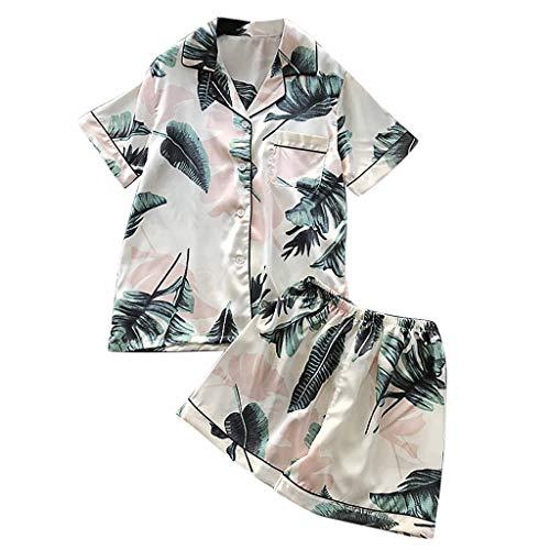 (DIOMOR 2PC Flower Print Belt Sleepwear Bathrobe Silky Sexy Button Pajamas Daily Robe Go)