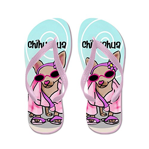 CafePress Chihuahua FF - Flip Flops, Funny Thong Sandals, Beach Sandals Pink