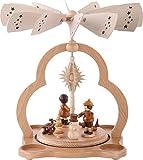 1-tier German Christmas Pyramid for tea candles winter children - 28cm / 11inch - Zeidler Holzkunst