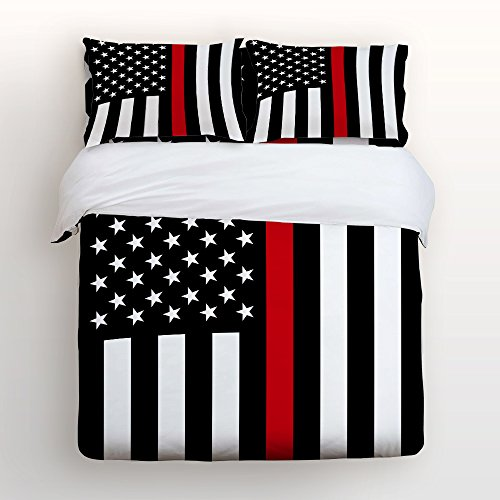 Z&L Home Bed Sets Sheets Twin Size Black White and Red Ameri
