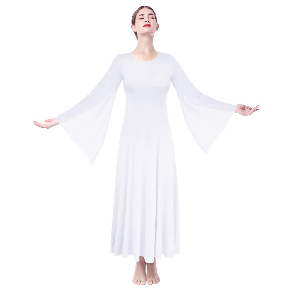 IMEKIS Donna Liturgico Danza Abito Manica Lunga Abito da Tinta Unita Lirico Preghiera Dancewear Ginnastica Balletto Combinazione Costume Elegante Casual Lungo Festa Vestito