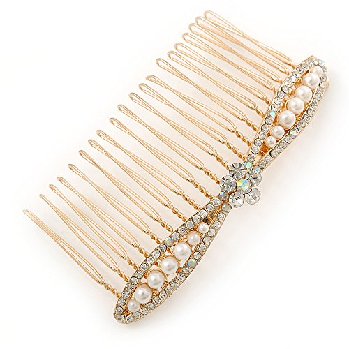 - Bridal/ Wedding/ Prom/ Party Gold Plated Clear Crystal, Light Cream Faux Pearl Bow Hair Comb - 80mm