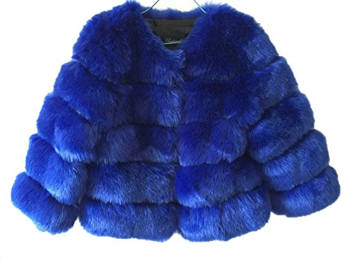 GESELLIE Women's Winter Warm Faux Fur Collarless Furry Short Outwear Coat Blue by GESELLIE