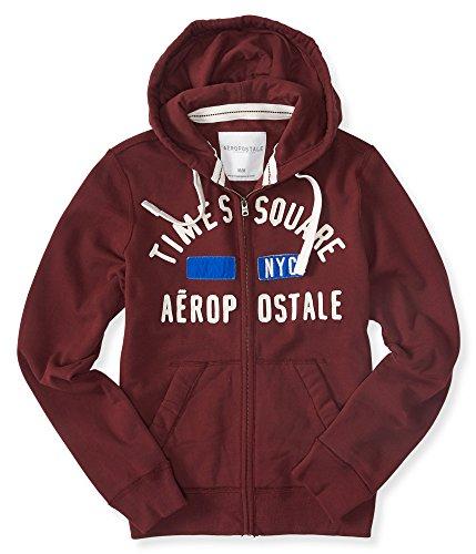 Aeropostale Men's Times Square Full-Zip Hoodie M Rustic Wine