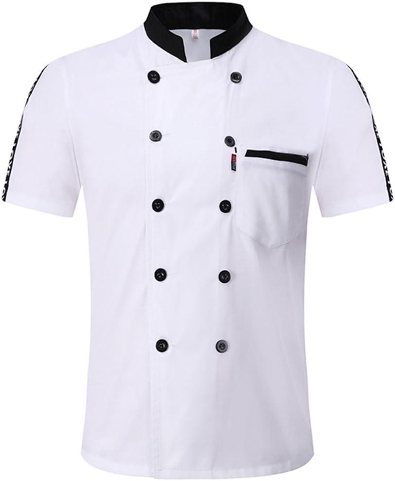 Milong Chaqueta de Chef Camisa Uniforme de Camarero de Manga Corta Transpirable Cómoda para Verano para Restaurante Blanco 1XL: Amazon.es: Hogar