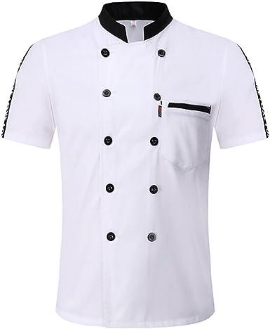 Freahap Chaqueta Chef Camisa de Cocinero Manga Corta de ...