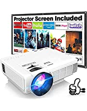 Mini Projector Outdoor Movie Projector with 100Inch Projector Screen, Latest Full HD 1080P Projector Supported, Compatible with TV Stick, Video Games, HDMI, USB, TF, VGA, AUX, AV, PS4