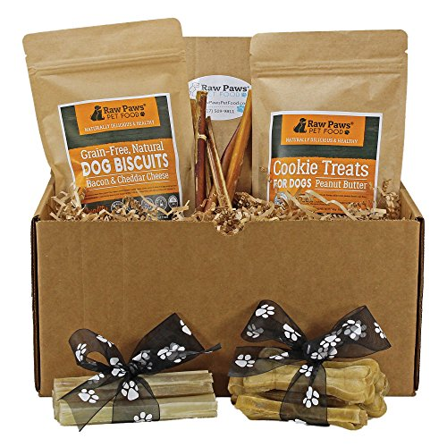 Raw Paws Pet Dog Birthday Treats for Puppies - Dog Gift Box for Puppy - Dog Chews and Treats Variety Pack - Birthday Gifts for Dogs - Dog Gift Basket - Rawhide Chews, Bully Sticks, Biscuits & Cookies