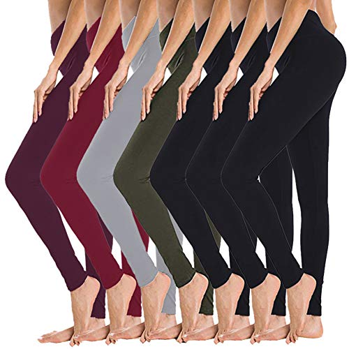 Gayhay High Waisted Leggings for Women - 7 Pack Opaque Slim Tummy Control Pants for Yoga Workout Cycling Running