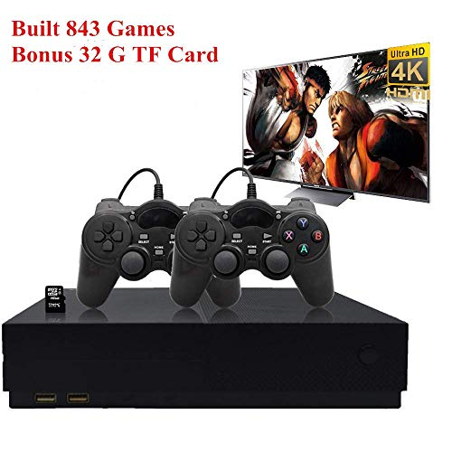 - BAORUITENG Retro Game Console, HD Video Game Console 843 Classic Games 4K HDMI TV Output with 2PCS Joystick for a Great Gifi for Game Player (Black)