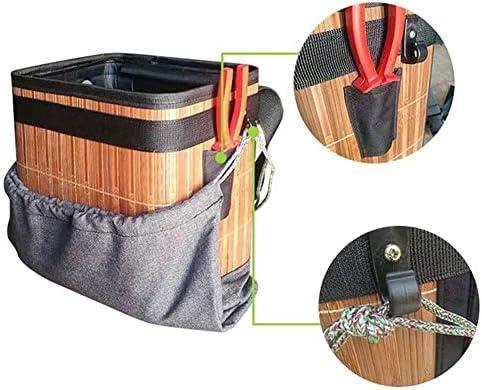 フルーツピッキングバッグ、調節可能なサイズ折りたたみ竹バケツ、ストラップ付きガーデンピッキングエプロン