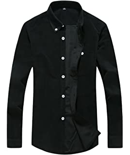 Gnao Mens Long Sleeve Casual Solid Regular Fit Button Up Patchwork Shirts