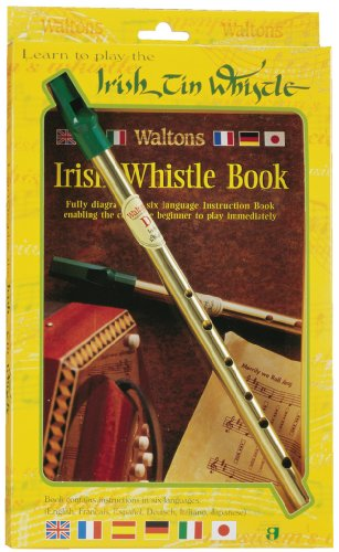 Waltons Irish D Tin Whistle and Book Pack - Fun & Colorful Tin - Irish & International Instrument - Perfect for Beginners, Intermediates, and Experts Perfect for St Patrick's Day - Irish Whistle Songs