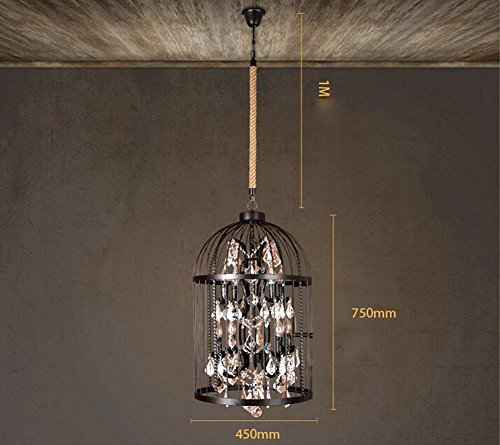 - DMMSS Retro Iron Birdcage Chandelier Crystal Lamp Rope Pendant Ceiling Lamps