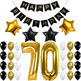 70th Birthday Party Decorations Kit, Happy Birthday Banner, 70th Gold Number Balloons,Gold and Black, Number 70, Perfect 70 Years Old Party Supplies,Free Bday Printable Checklist