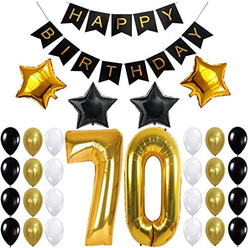 70th BIRTHDAY PARTY DECORATIONS KIT - 70th Birthday Party Supplies | 70 Balloons Number | Black and Gold Banner and Balloons | Great 70 Years Old Party Supplies | 70's (70 Party Decorations)