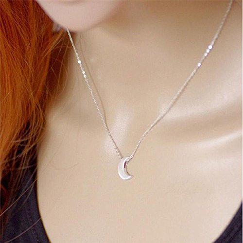 - Fashion Women Silver Crescent Moon Pendant Chain Necklace delicate Jewelry