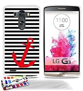 Carcasa Flexible Ultra-Slim LG G3 VS98 de exclusivo motivo [Marinero negro y ancla] [Blanca] de MUZZANO + 3 Pelliculas de Pantalla UltraClear + ESTILETE y PAÑO MUZZANO® REGALADOS - La Protección Antigolpes ULTIMA, ELEGANTE Y DURADERA para su LG G3 VS98