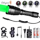 Odepro KL41 Plus Hunting Flashlight Kit Red Light Green Light White Light IR850 Light LED Lamps and Cable Switch, Long Beam Flashlight with 2pcs 18650 Rechargeable Battery, Charger, 2pcs Mount Clip