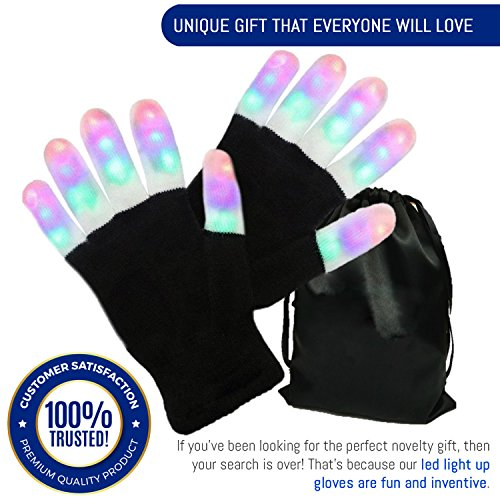 Light Gloves - Finger Light Flashing LED Gloves Warm with Flashing Lights and 6 Different Modes for Men Women & Kids, Holiday Christmas Gifts Ideas and Gloves with Lights Birthday (Lady In Waiting Costume Reviews)