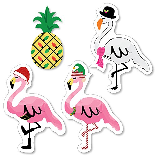 Big Dot of Happiness Flamingle Bells - DIY Shaped Tropical Flamingo Christmas Party Cut-Outs - 24 Count