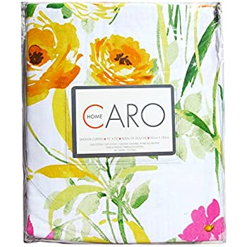 luxury 100 cotton shower curtain printemps floral garden branches yellow pink green purple white botanical blooms floral nature
