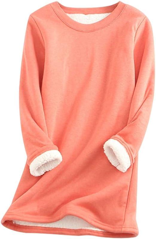 iSunday - Camiseta térmica de Manga Larga para Mujer, algodón cálido, térmico, Cuello Redondo de Manga Larga, algodón, Rojo, Large: Amazon.es: Hogar
