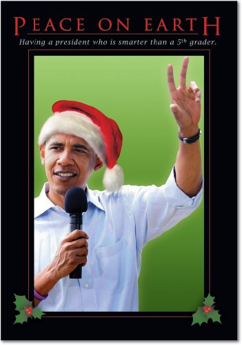 12 'Peace On Earth' Boxed Christmas Cards with Envelopes 4.63 x 6.75 inch, Funny President Barack Obama Christmas Notes, Hilarious Political Humor, Humorous Christmas Stationery B1924